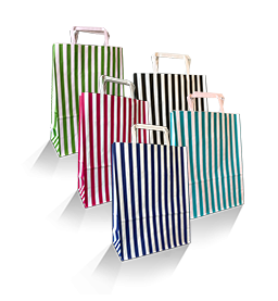 Stripe Coloured Paper Carry Bags