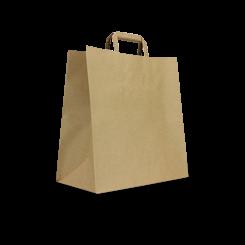 Large CheckOut (320+170x430h) Brown Flat Fold Handle Paper Bag