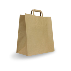 #75 (320w+145x340h) Brown Flat Fold Handle Paper Bag