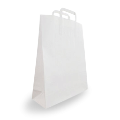 Small (250+120x350h) White Flat Fold Handle Paper Bag