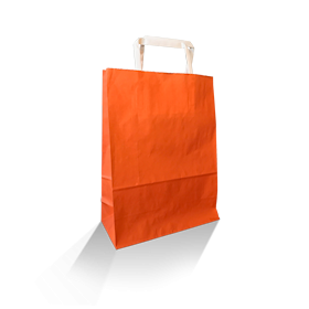 XS (220w+100x290h) Orange Solid Paper Carry Bag