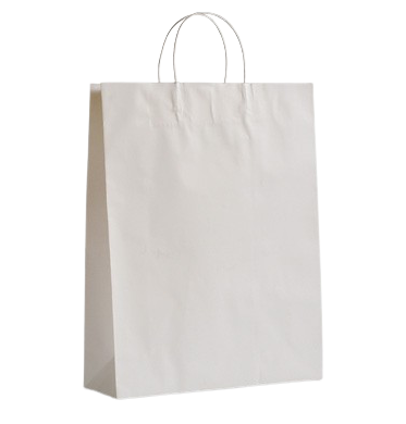 Medium (320w+120x420h) White Twisted Paper Handle Paper Bag