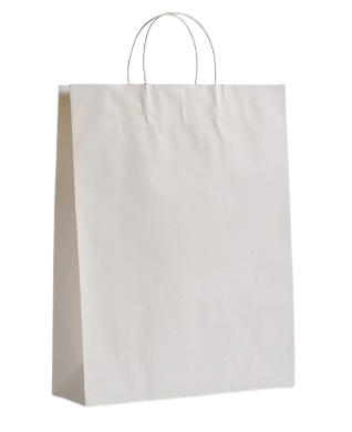 Large (400w+125x480h) White Twisted Paper Handle Paper Bag