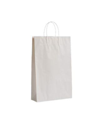 XS (160+80x265h) White Twisted Paper Handle Paper Bag