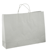 Large Boutique (450+125x350h) White Twisted Paper Handle Paper Bag